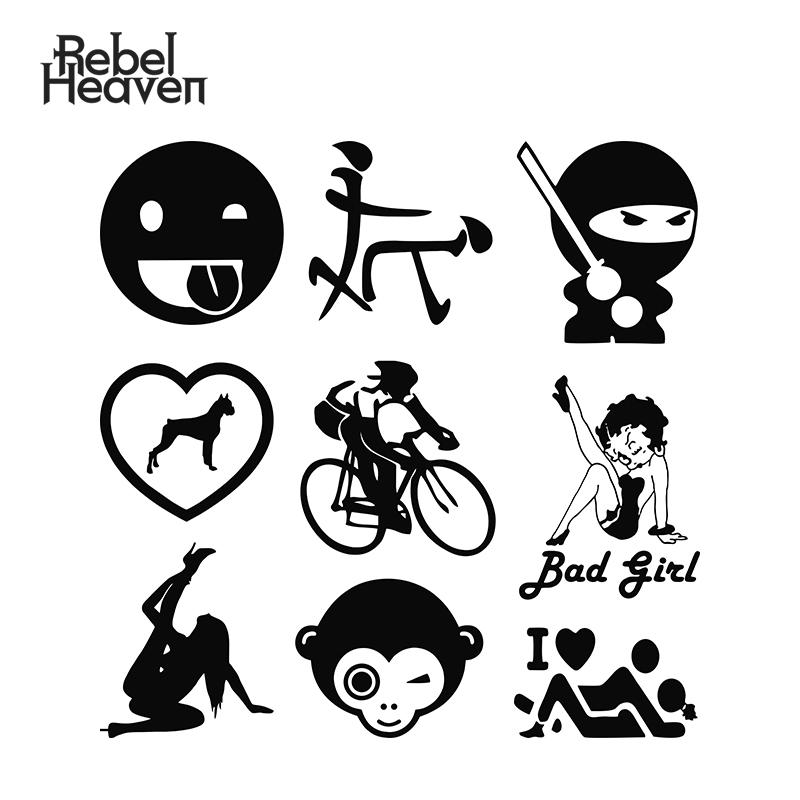 Rebel Heaven Funny Car Sticker JDM Cartoon Grimace Road <font><b>Bike</b></font> Sexy NUDE Girls I Love F*ck Vinyl Decal Fashion Car <font><b>Assessoires</b></font> image