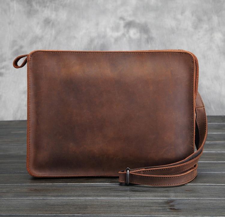 New 100%genuine Leather Vintage Men Shoulder Bags Man Bag For Ipad Business Crossbody Bags Causal Messenger Bag Travel Handbags