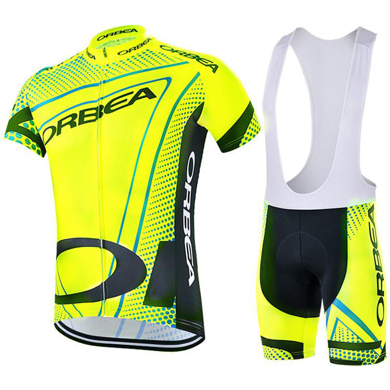 Breathable Cycling Jersey GEL Pad 2017 Yellow Orbea Pro Team Short Sleeve Cycling Jersey Maillot Ropa Ciclismo Cycling Clothing