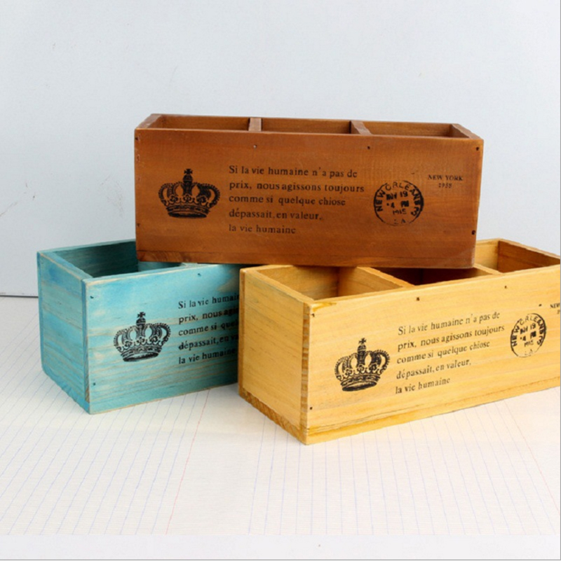 Hot Sale 3 Lattices Wood Storage Box Retro Classic Desktop Sundries Zakka Organizador Pens Office Rangement Wooden Boxes SN004