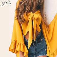Yehury 2017 New Fahsion Women Spring Autumn Irregular Chiffon Blouses Sexy Bow Tie V Neck Petal