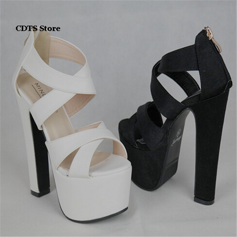 CDTS zapatos mujer:34-39 Summer 2017 women platform sandals 14cm thick high heels Open Toe wedding shoes woman Cross-strap pumps cdts plus 35 45 46 summer peep toe zapatos mujer sandals 15cm thin high heels platform sexy woman shoes wedding pumps