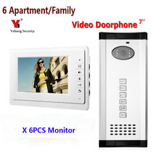 Yobang Security 7″ Color Apartment Video Doorbell Doorphone Intercom 1 Outdoor Camera + 6 Monitors for 6 Family / House IN STOCK