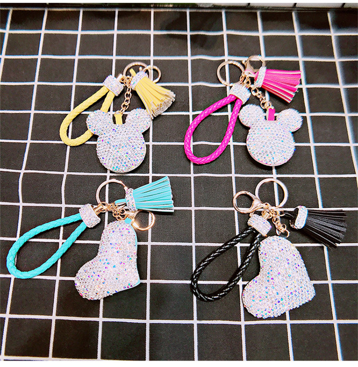 2 Creative Love Keychains Couple Bag Keyring Tassel Pendant Doll Leather Keychain For Women Fashion Jewelry Crystal Heart Keychains