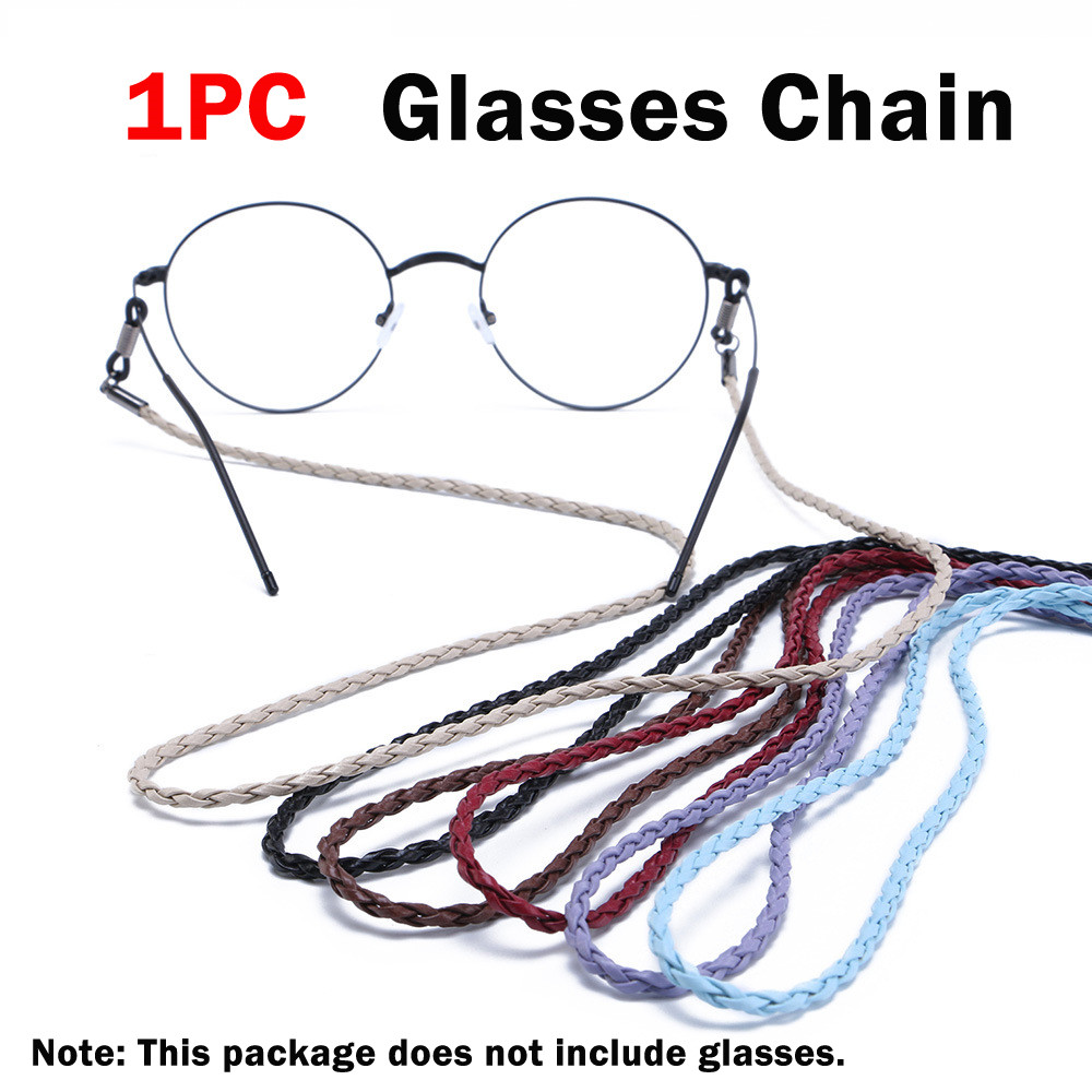 1Pcs New Colorful Leather Glasses Neck Strap String Rope Band 4 Colors Leather Eyeglass Cord Adjustable End Glasses Holder Chain