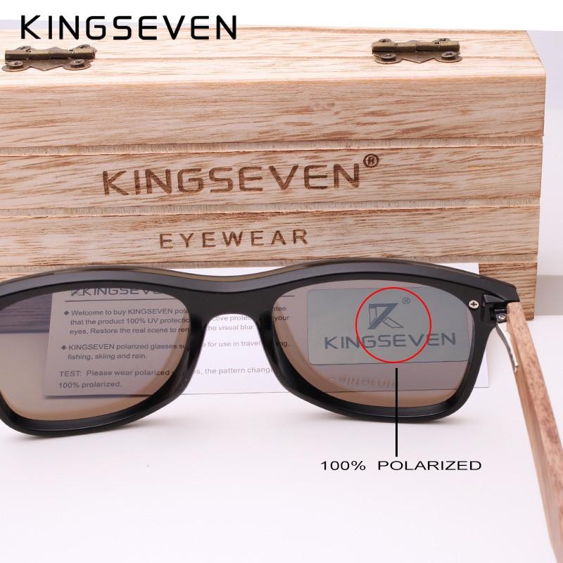 KINGSEVEN 2019 Mens Sunglasses Polarized Wood Mirror Lens Sun Glasses 4