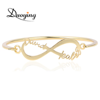 DUOYING Fashion Bangle Bracelet Infinity Custom Name Bangle For Women Rose Gold Silver Two Name Personalized