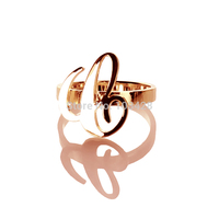 Personal Carrie Style Unique Rings Custom 1 Initials Name Ring Rose Gold Plated Handmade Nameplated Rings