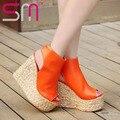 Novo 34-43 Boemia Cunhas Weaven Enrole Tornozelo Recortes Sandálias de Salto Alto 2017 sandálias das mulheres sapatos Plataforma Sandálias de Verão