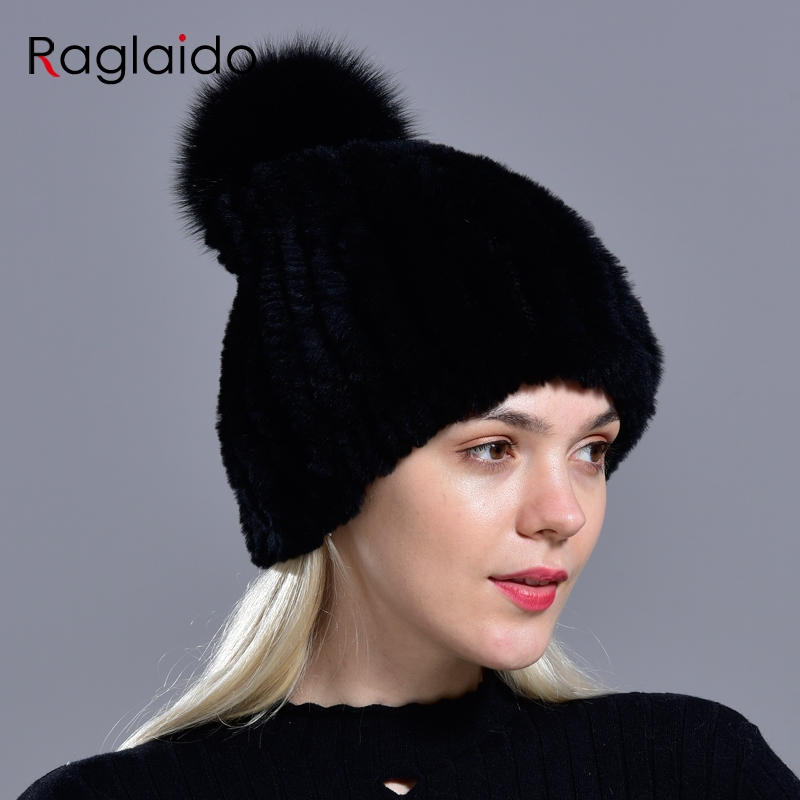 Raglaido Knitted Pompom Hats for Women Beanies Solid Elastic Rex Rabbit Fur Caps Winter Hat Skullies Fashion Accessories LQ11219 4