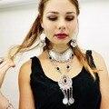 Alta calidad bohemia vintage de plata negro grano de acrílico moneda collar de cadena larga borla colgante turco de la joyería para mujer