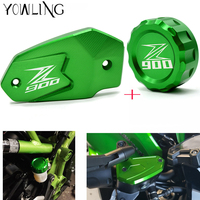LOGO Z800 Z900 Cylinder Rear Fuel Brake Fluid Reservoir Cover Tank Cap Cylinder For Kawasaki Z900