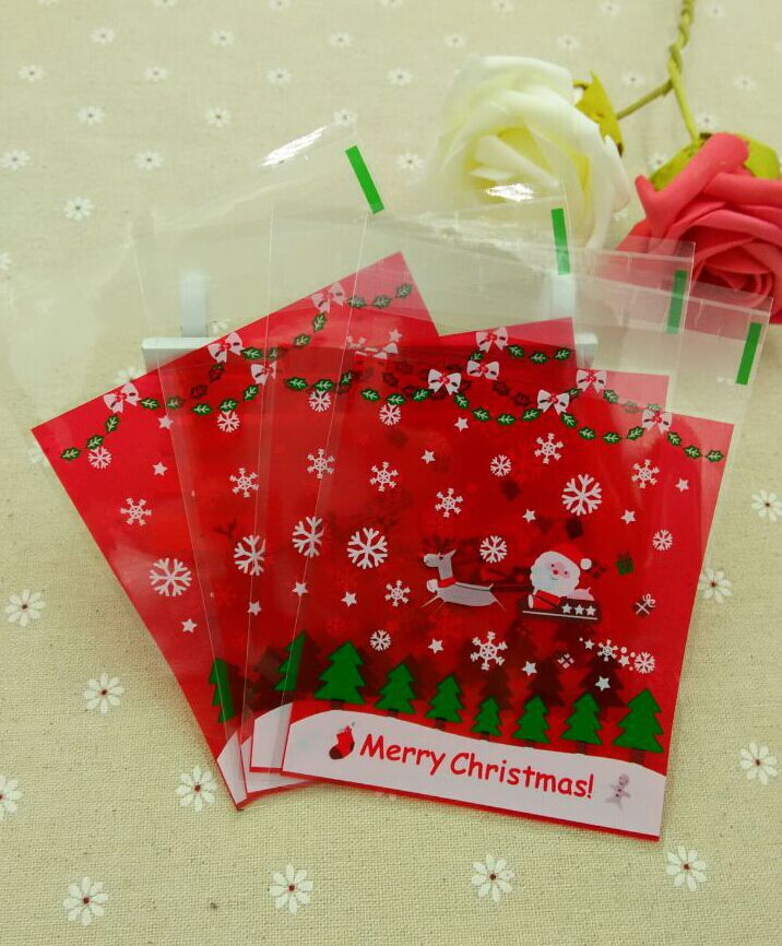 bb32cfa46451 ST Size 10x11 3cm Red Santa Claus Christmas Cellophane Cookie Bag,Bakery  Gift Packing Bags 100pcs lot
