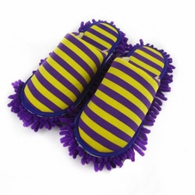 Floor Cleaning Slippers Home Cleaning Mop Dust Cleaner Slippers Detachable Floor Wipe Striped Chenille Lazy Shoes Cover 1Pair