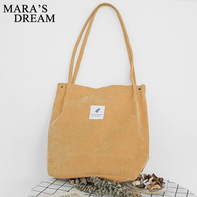 Mara's Dream High Capacity Women Corduroy Tote Ladies Casual Solid Color Shoulder Bag Foldable Reusable Women Shopping Beach Bag 4