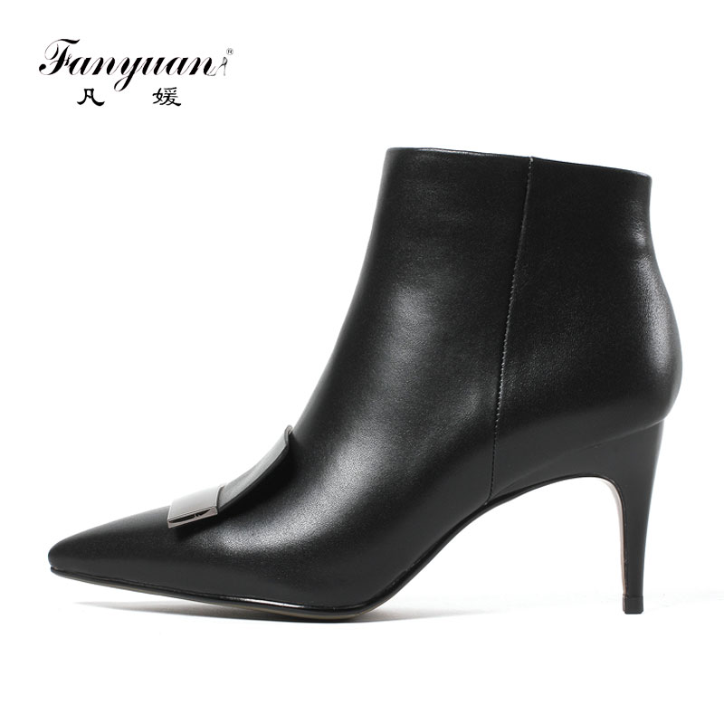 Fanyuan Fashion Genuine Cow Leather Women Zip Ankle Boots Pointed Toe High Heels Boots Shoes Woman 33-43 Motorcycle Winter BootFanyuan Fashion Genuine Cow Leather Women Zip Ankle Boots Pointed Toe High Heels Boots Shoes Woman 33-43 Motorcycle Winter Boot