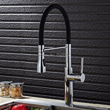 Кухня вытащить кран хромированная латунь полированный гибкие Высокий Одной ручкой бортике смесители ZR685