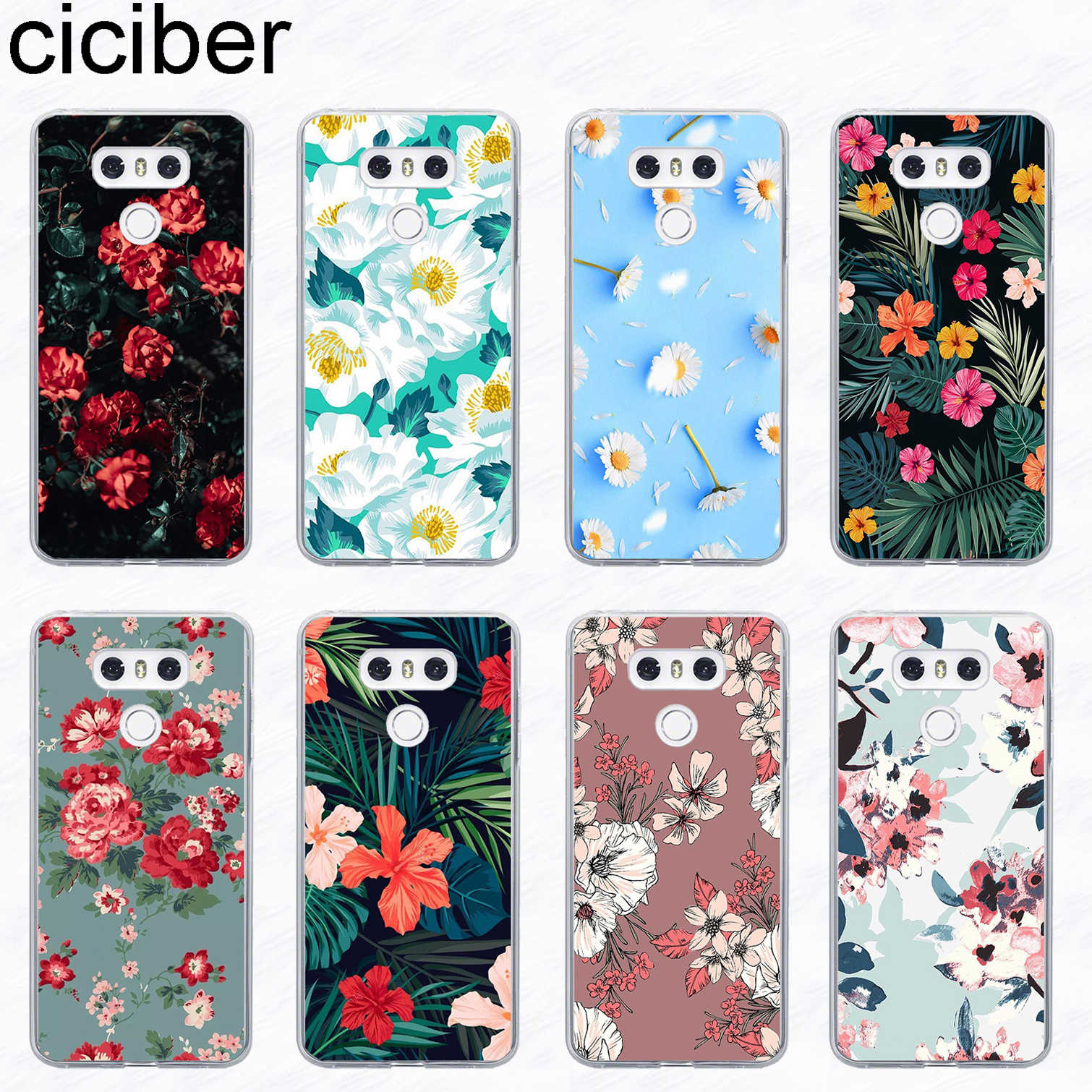 ciciber Flower Rose Phone Case For LG G6 G7 G5 G4 V20 V30 V35 V40 THINQ Soft TPU For LG K8 K7 K10 K4 K9 K11 2017 2018 Plus Funda