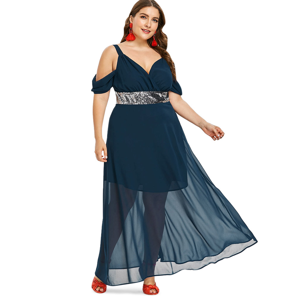 US $15.9 48% OFF|Wipalo Plus Size 5XL Sequins Cold Shoulder Floor Length  Maxi Dress Casual Solid High Waist Mesh Flowy Dress Party Dress Vestidos-in  ...