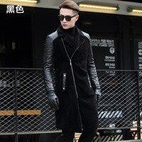 2018 Winter Men's Fashion Slim Pockets Sheepskin Wool Patchwork Black Long Turn Down Collar Trench Male Business Coats Outwear