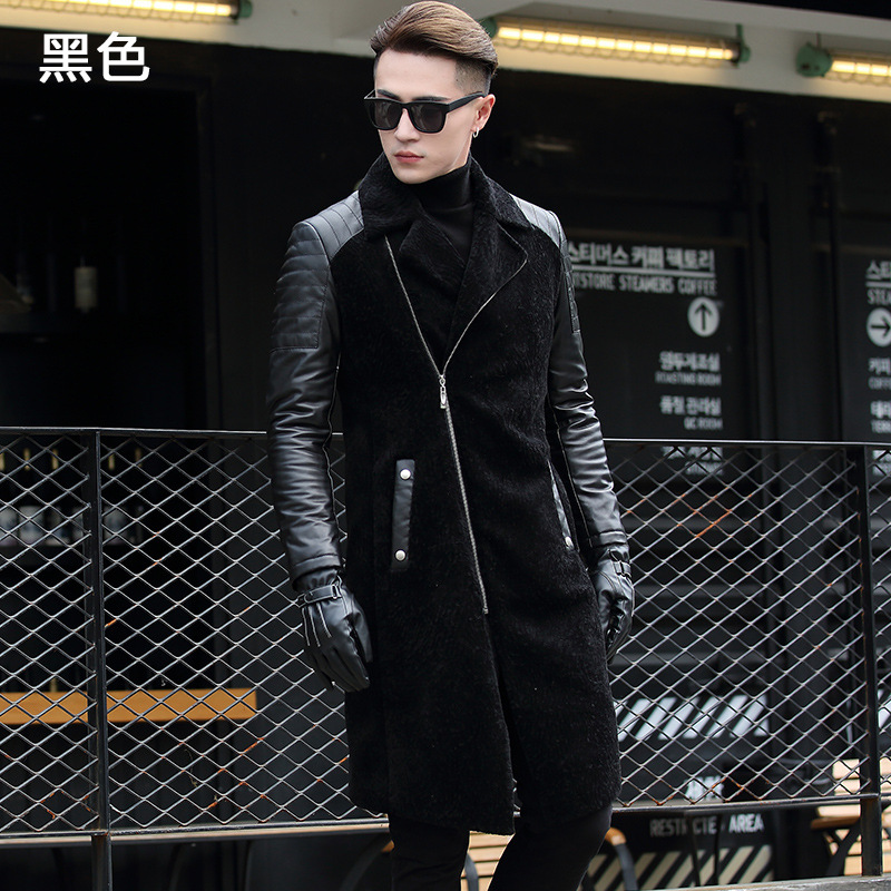 2018 Winter Men's Fashion Slim Pockets Sheepskin Wool Patchwork Black Long Turn Down Collar Trench Male Business Coats Outwear