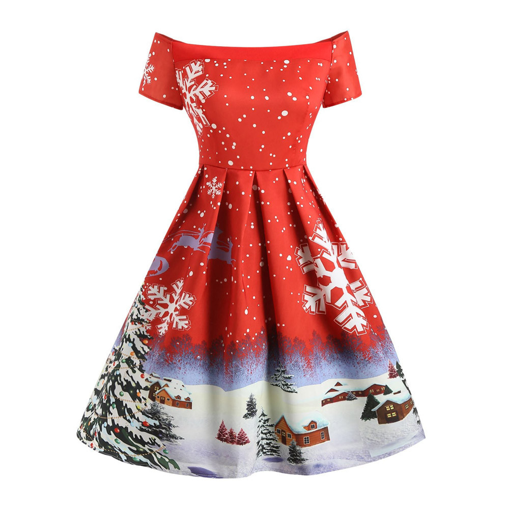 Winter Christmas Dresses Women 50S 60S Vintage Robe Swing Pinup Elegant  Party Dress Short Sleeve Casual Plus Size Print Black-30