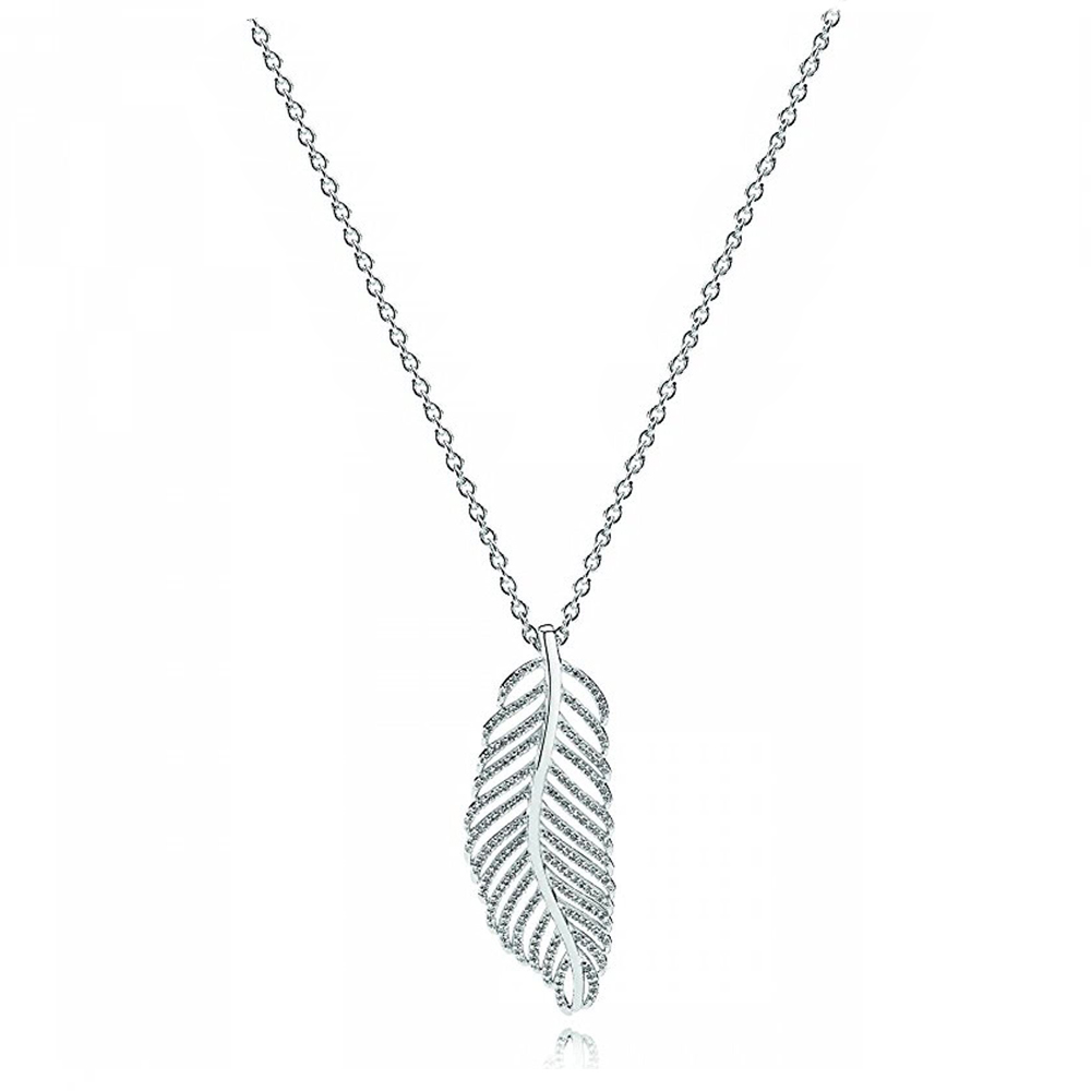 NEW 100% 925 Sterling Silver 1:1 Genuine Simple Blink Feather Temperament Ms. Pendant Necklace Fit DIY Holiday GiftNEW 100% 925 Sterling Silver 1:1 Genuine Simple Blink Feather Temperament Ms. Pendant Necklace Fit DIY Holiday Gift