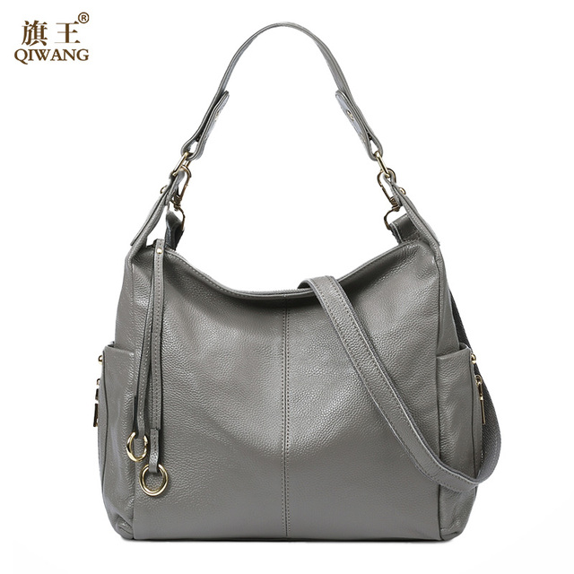 QIWANG 100% Grey Genuine Leather Bag Women s Handbag Ladies Shoulder Bags  Satchel Purse Crossbody Hobo Large Capacity 4919eee2dcca5