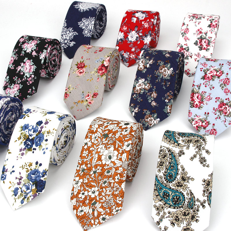 IANTHE 100% Cotton Paisley Print Neck Ties For Men Slim Skinny Cravate Narrow Flower