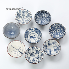 WIZAMONY Drinkware Chinese Kung Fu Tea Set Teacup cups Handpainted Blue and white Ceramic Porcelain for puer Oolong