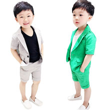 Boys Formal Suits Summer 2pcs Short Sleeve Blazer+Shorts Children Kids Wedding Clothing Sets Prom Performance Costumes(China)