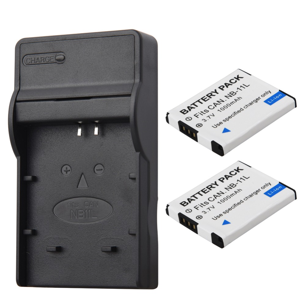 2pcs 1000mAh NB 11L NB 11L NB11L Camera Battery Charger For Canon A2600 A3500 A4000IS IXUS