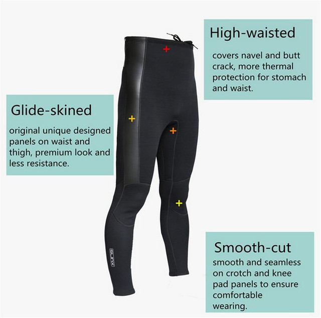 SLINX 2mm  Neoprene Diving Pants For Men Winter Swimming Running Sailing Surfing Wetsuit Material Keep Warm Black Swim Beach Pan