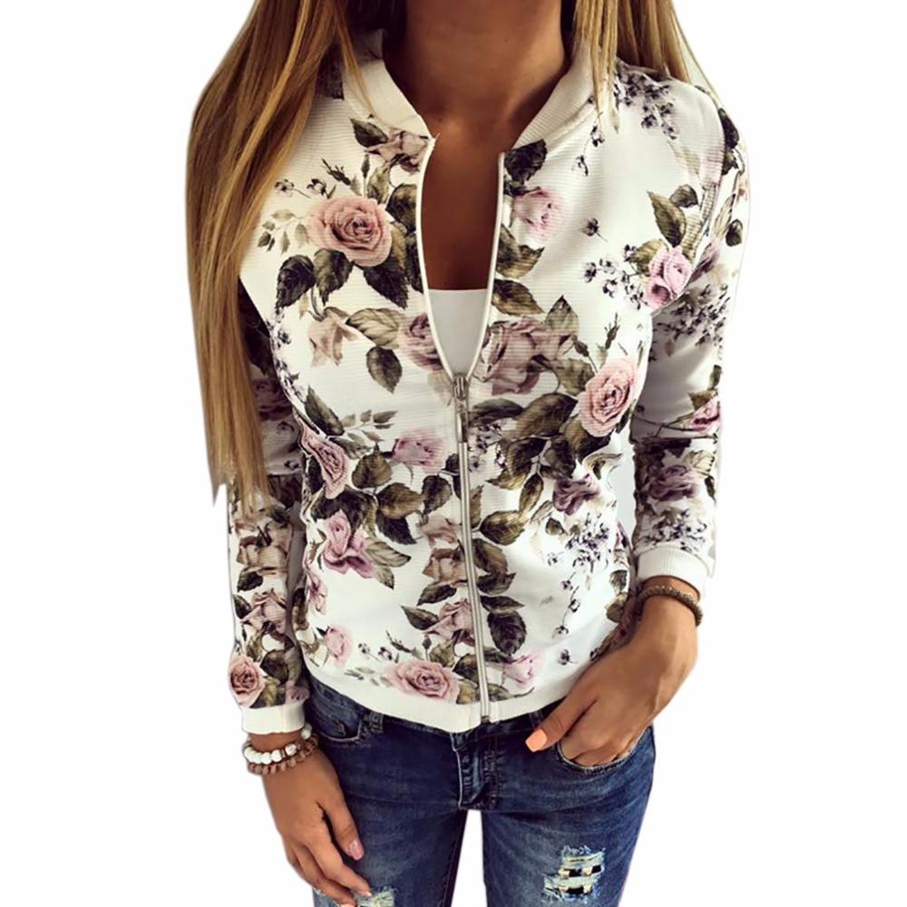 2017 Verano Primavera Chaqueta Mujer Impreso Floral Mujeres Outwear - Ropa de mujer