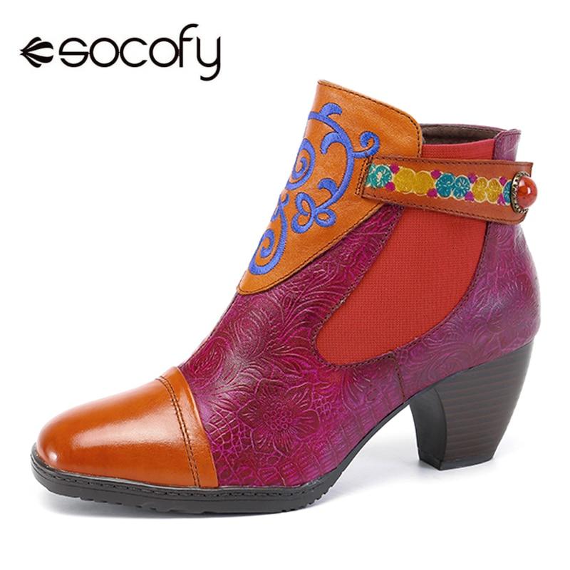 Socofy Genuine Leather Ankle Boots Women Shoes Vintage Bohemian Splicing Zipper Block Heels Women Boots Spring Fall Botas Mujer side zipper design color block splicing crew neck sweatshirt