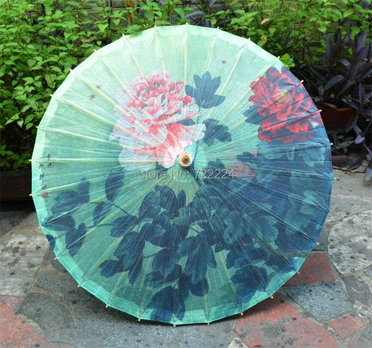 Free shipping chinese craft classical blue background peony painting oiled paper umbrella decoration gift dace props umbrella