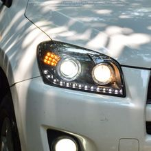 Dynamic Turn Signal LED Headlight DRLs Bi Xenon Projector Lens Fit For Toyota RAV4 2009-2012