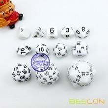 Bescon 60 Side Dice Set, 12pcs Polyhedral Dice Set D3-D60, D3 D4 D6 D8 D10 D% D12 D20 D24 D30 D50 D60 RPG Dice Set in White