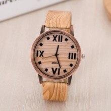 FUNIQUE Simulated Wooden Men Women Wood Leather Strap Quartz Wristwatch Women Dress Watch Feminino Clock Fashion Hour Gift