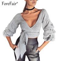 Forefair Sexy Criss Cross Bandage Blouses Women Long Puff Sleeve V Neck Shirt Tops 2017 Slim