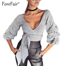Forefair Sexy Criss Cross Bandage Wrap Tops Women Long Puff Sleeve V Neck Shirt Blouse 2017 Slim Crop Top Blusas