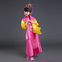 Chinese folk dance costume clothing hanfu girls kids stage wear national ancient traditional Chinese dance costumes AA4468