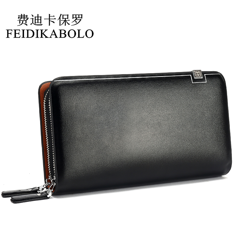 FEIDIKABOLO Men Wallets Leather Male Purse Men's Double Zipper Long Wallet Monederos Clutch Man Handy Bags Carteiras Billeteras fd bolo brand wallet men leather wallets aligator handy bags coin purse monederos carteras hombre mens wallets man clutch bags