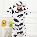 2016 Autumn and Winter Flannel Cartoon animals Cute Cow Pajamas for Women adult hooded Pajama sets