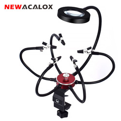 NEWACALOX Soldering Helping Hands 3X USB Glasses Magnifier Soldering Station Third Hand Tool Rotary Bench Vise Table Clamp