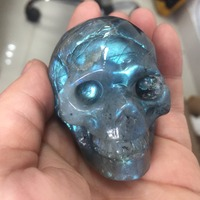 lbsk81(188g) Natural Amazing Special Colorful Labradorite Crystal Skull Carving Head Healing Gift