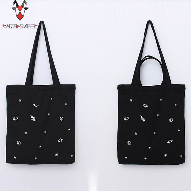 Raged Sheep Fashion Cotton Grocery Tote Shopping Bags Folding Shopping Cart Eco Grab Spacecraft Embroid Bag