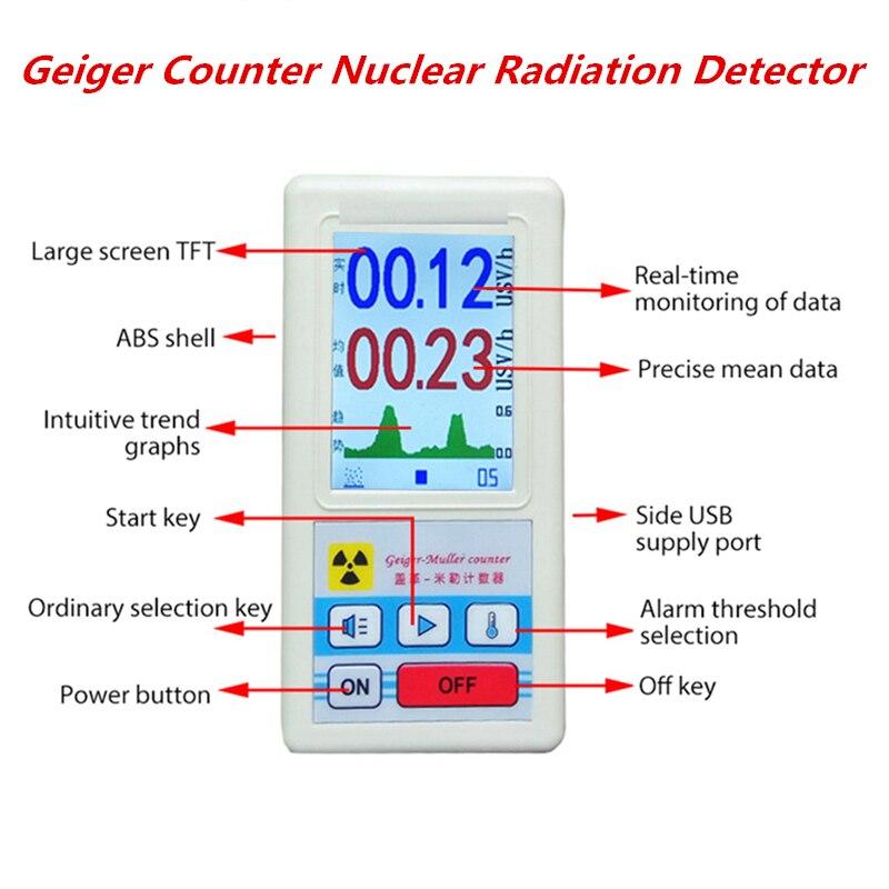Персональный дозиметр счетчик Гейгера детектор ядерного излучения X-ray бета гамма детектор ЖК-дисплей радиоактивных Тестер трубки Мрамор и...
