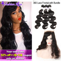 10A Indian Body Wave 360 Lace Frontal With Bundle Unprocessed Indian Virgin Hair Human Hair Bundles 360 Lace Virgin Hair