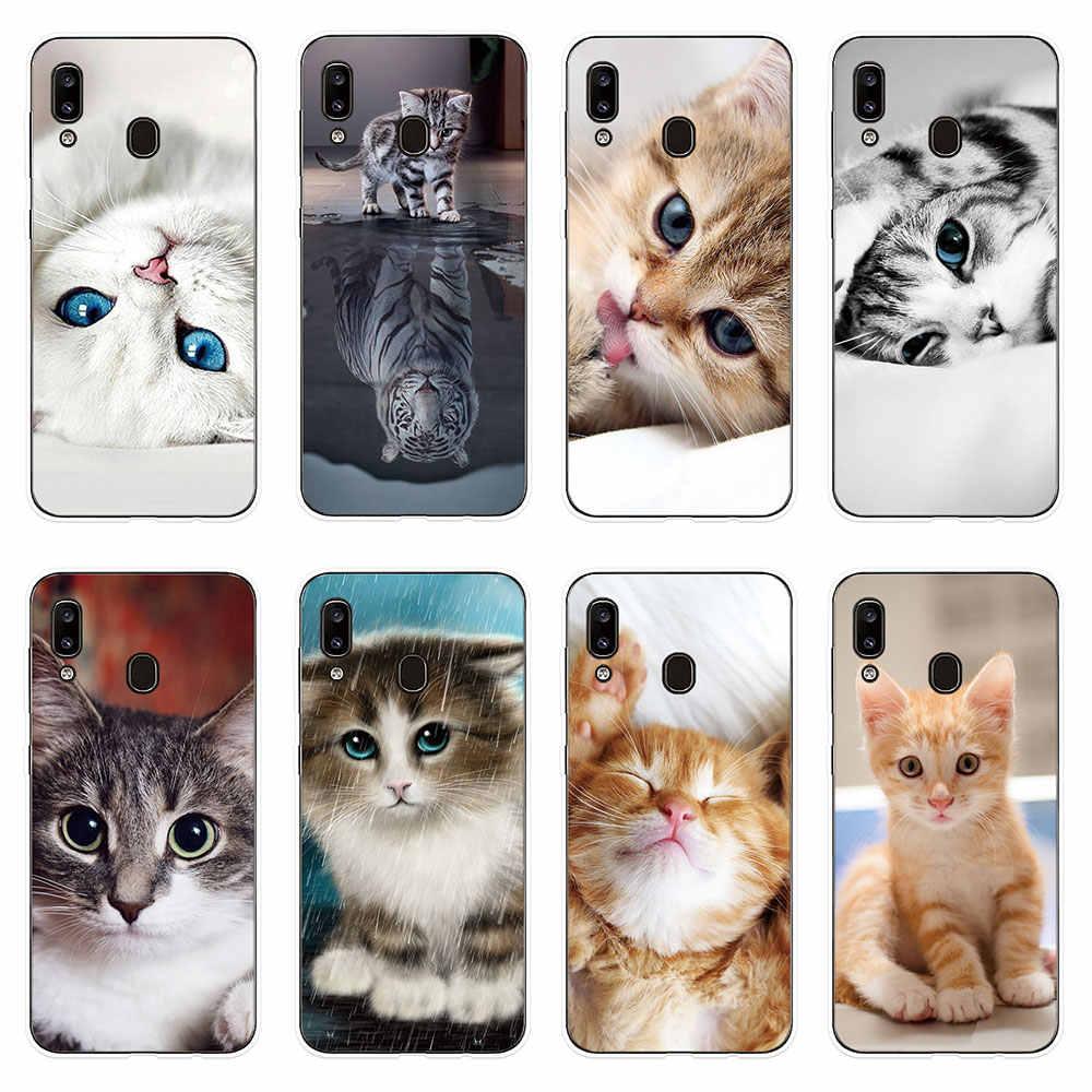Téléphone étui pour Samsung Galaxy A10 A20 A20e A30 A40 A50 A60 A70 A80 A90 Couverture Mignon Chat Pour Animaux de compagnie À Motifs pour Samsung M10 M20 M30 Cas